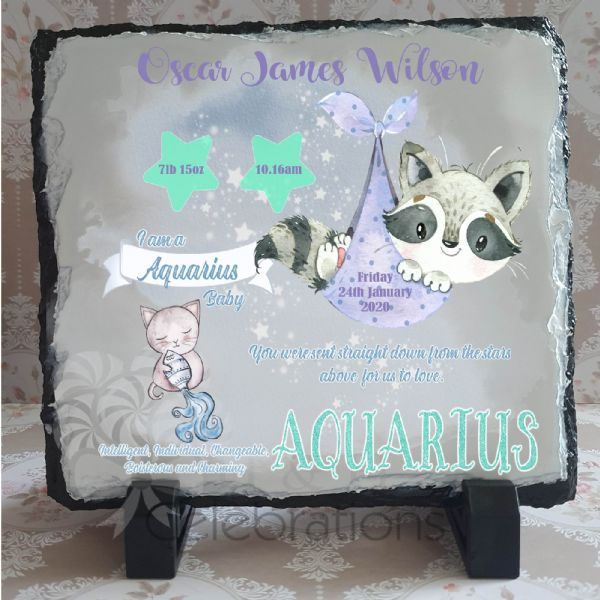 Aquarius - Baby Star Sign Keepsake Rock Slate